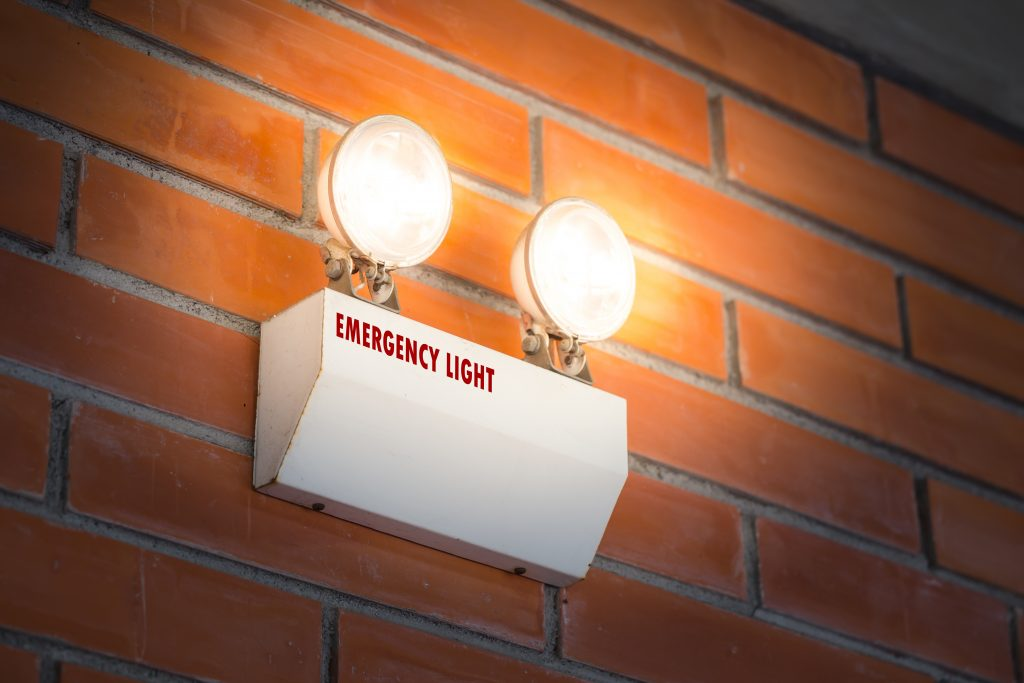 A turned-on emergency light