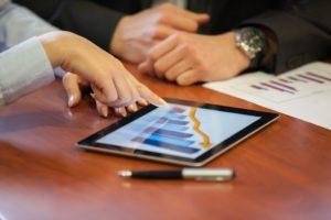 People discussing digital marketing data