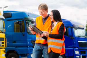 Fleet manager talking to driver