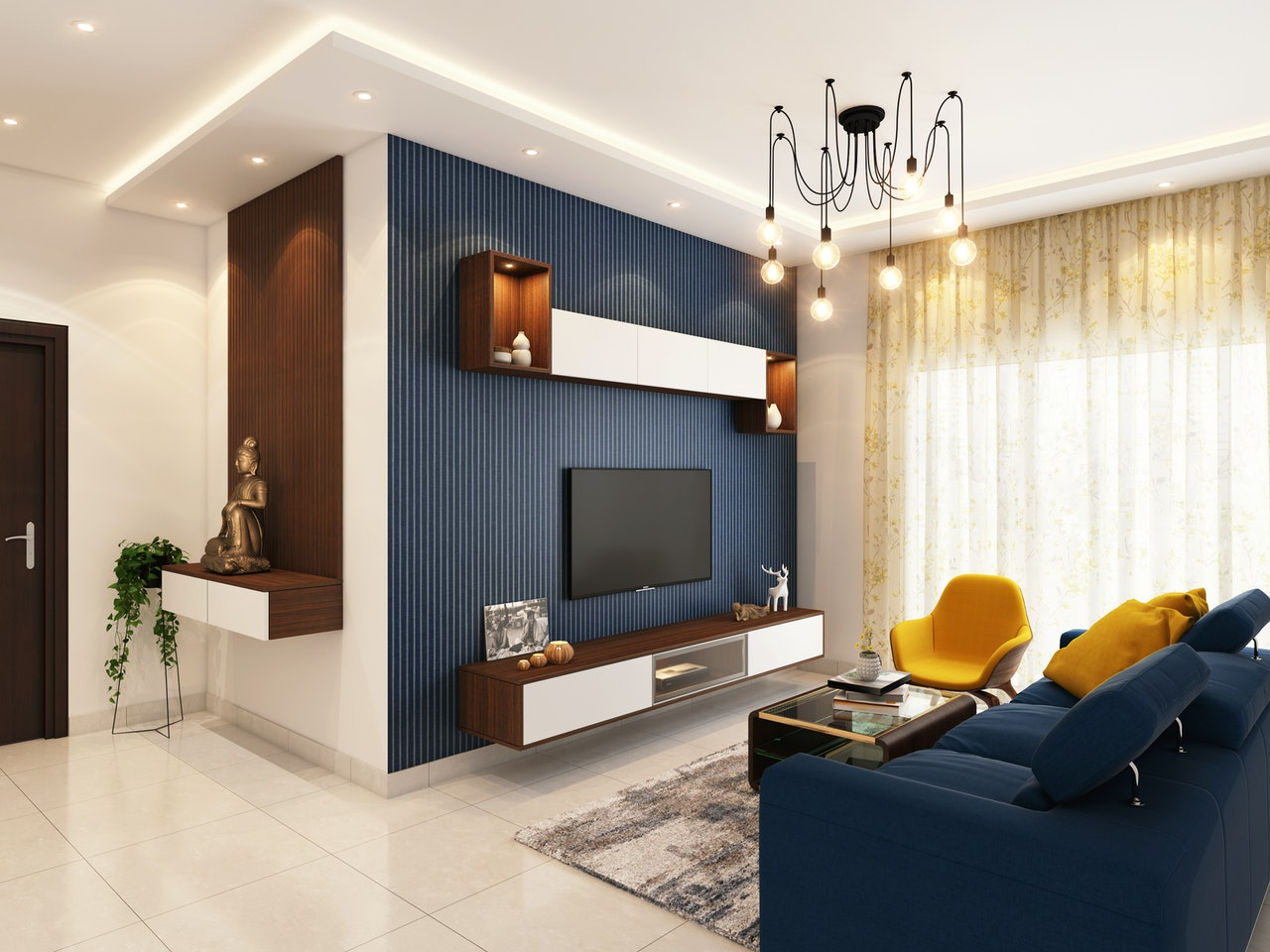 a home theatre with a chandelier